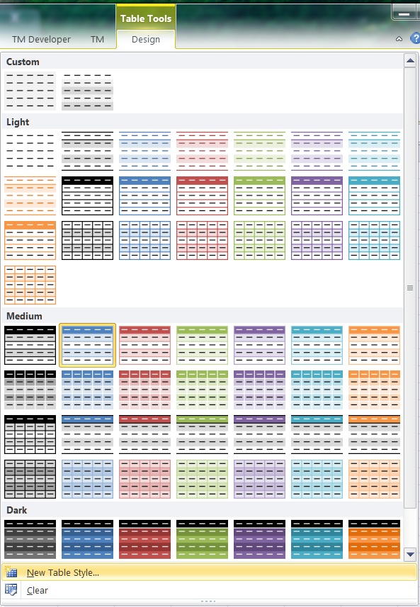 Banding rows in an excel table for Table design ribbon in excel